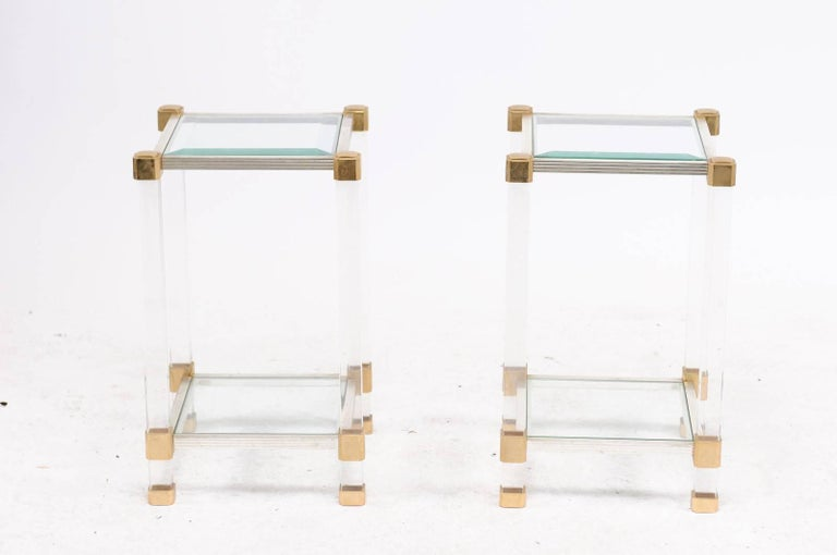 20th Century Pair of French 1960s Pierre Vandel Metal, Brass, Lucite and Glass Side Tables For Sale