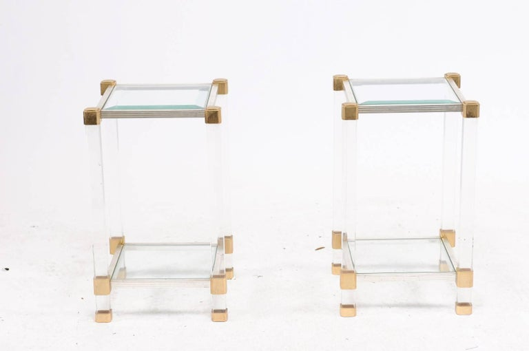 Pair of French 1960s Pierre Vandel Metal, Brass, Lucite and Glass Side Tables For Sale 1