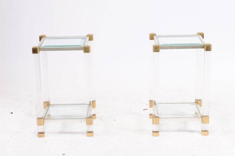 Pair of French 1960s Pierre Vandel Metal, Brass, Lucite and Glass Side Tables For Sale 2