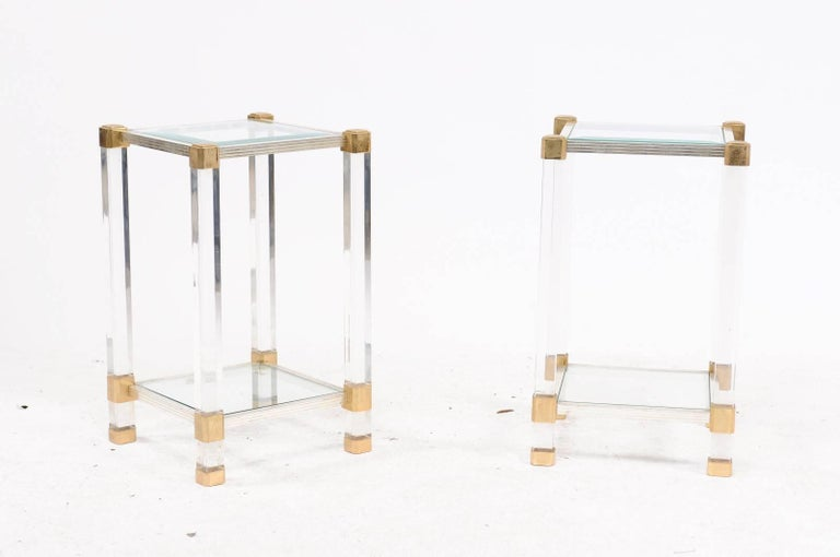 Pair of French 1960s Pierre Vandel Metal, Brass, Lucite and Glass Side Tables For Sale 3