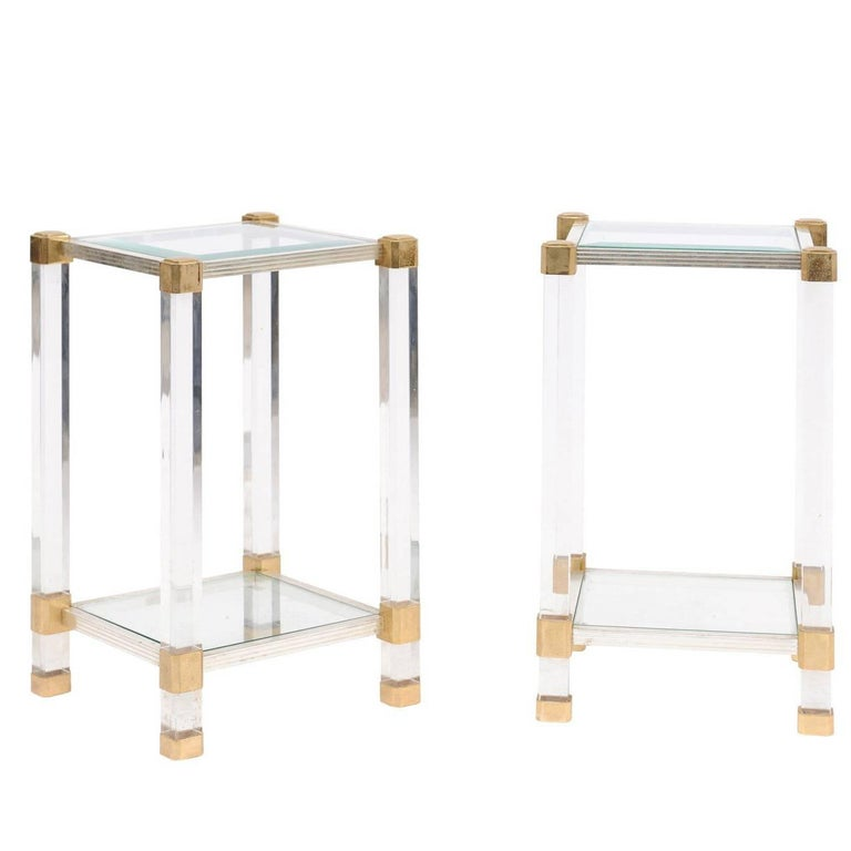 Pair of French 1960s Pierre Vandel Metal, Brass, Lucite and Glass Side Tables For Sale