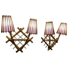 Pair of French 1960's Rattan Sconces by Louis Sognot with Light Pink Lampshades
