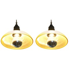Pair of French 1960s Single Light Ceiling Pendant Light with Glass Shade