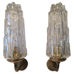 Pair of French 1970s Brass and Glass Art Deco Style Sconces