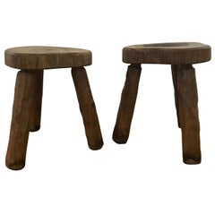 Pair of French 1970s Elm Stools