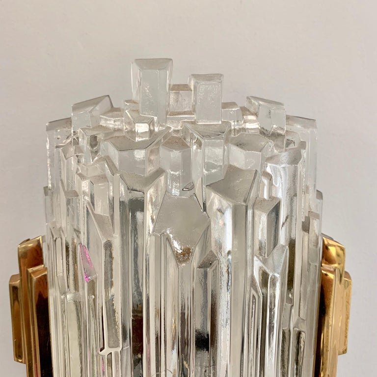 Pair of French 1970s Ice Crystal Wall Lights For Sale 4