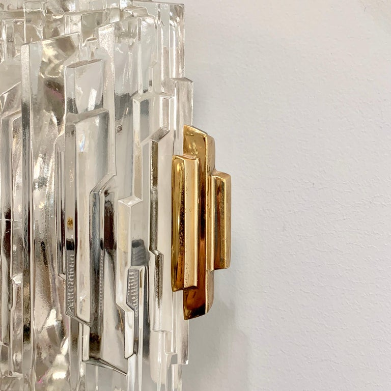 Pair of French 1970s Ice Crystal Wall Lights For Sale 5