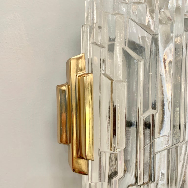 Pair of French 1970s Ice Crystal Wall Lights For Sale 7