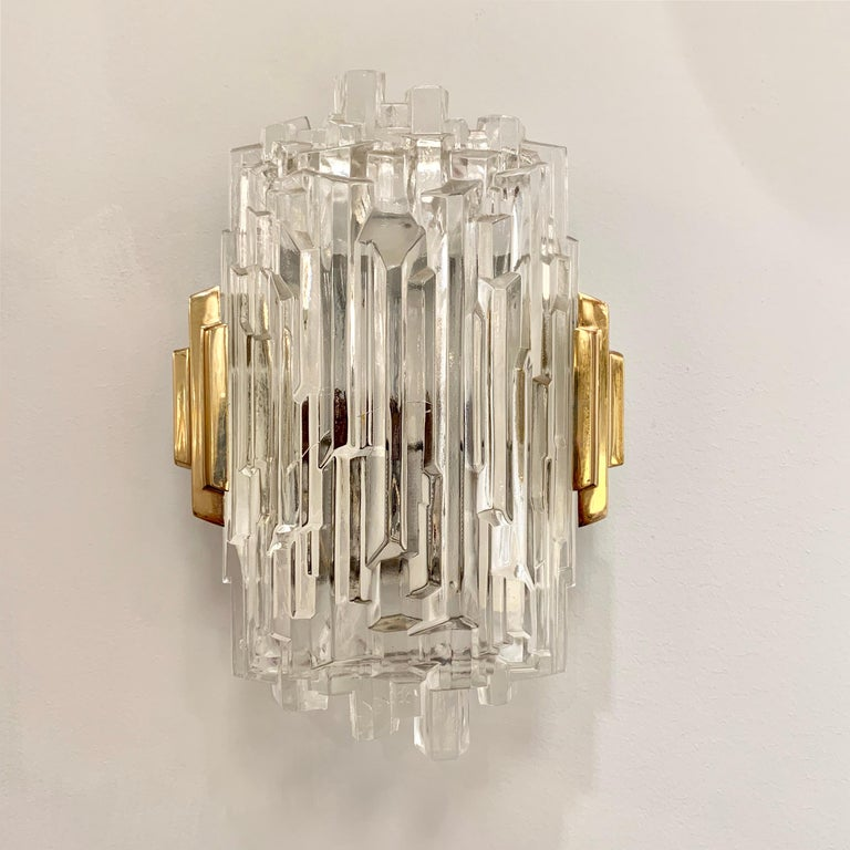 Pair of French 1970s Ice Crystal Wall Lights For Sale 8