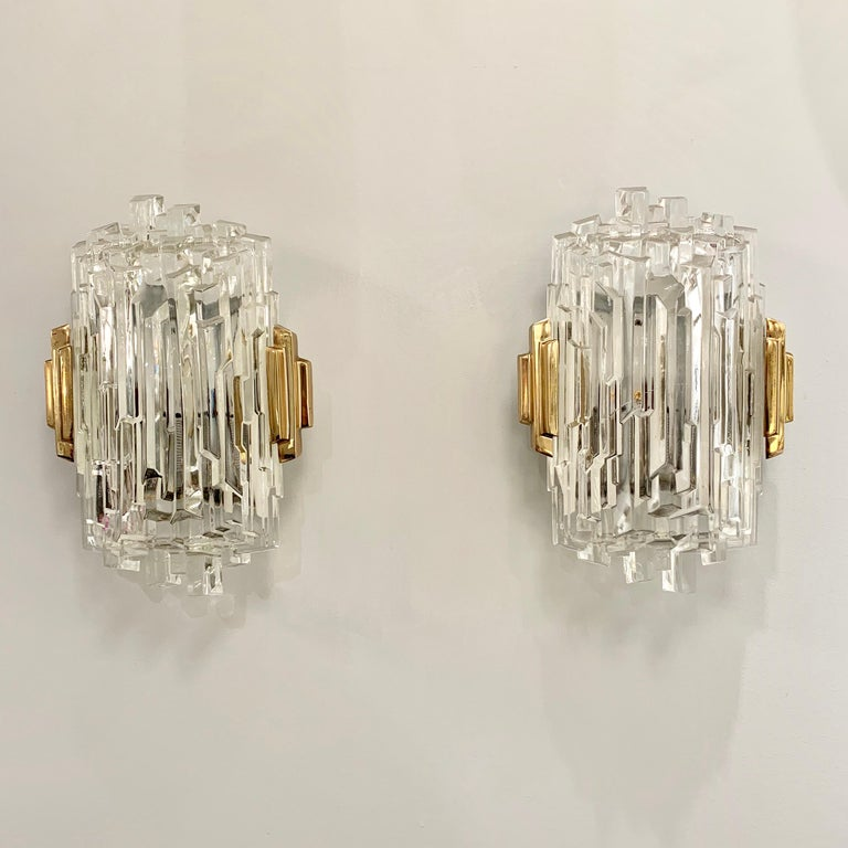 Pair of French 1970s Ice Crystal Wall Lights For Sale 11