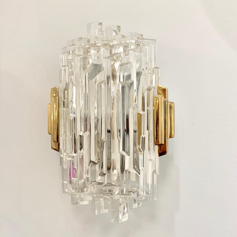 Brass Pair of French 1970s Ice Crystal Wall Lights For Sale
