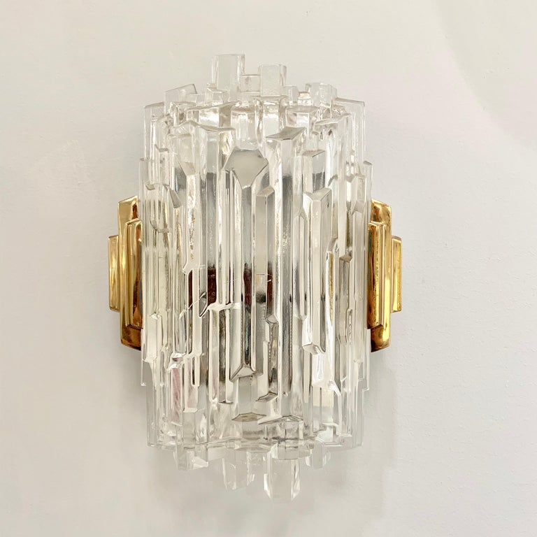 Pair of French 1970s Ice Crystal Wall Lights For Sale 1