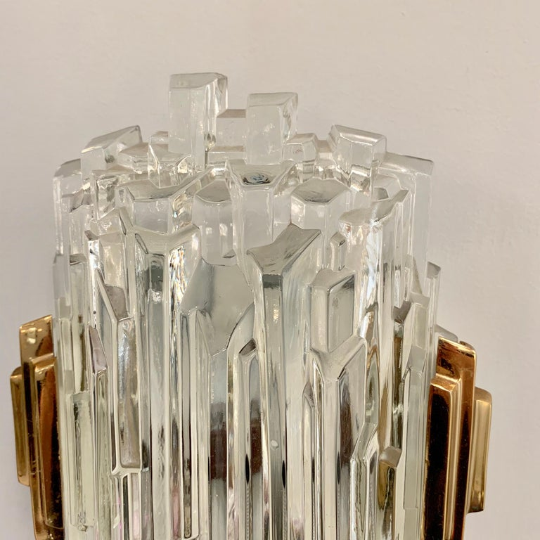 Pair of French 1970s Ice Crystal Wall Lights For Sale 3