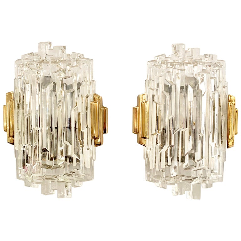 Pair of French 1970s Ice Crystal Wall Lights For Sale