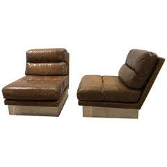 Pair of French 1970s Jacques Charpentier Leather Lounge Chairs