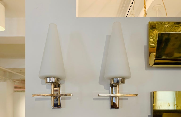 Mid-Century Modern Pair of French 1970s Lunel Wall Lights For Sale