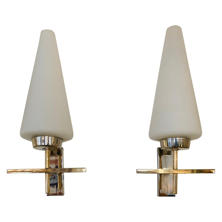 Pair of French 1970s Lunel Wall Lights For Sale