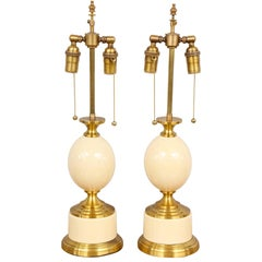 """Pair of French 1970s """"Ostrich Egg"""" Table Lamps"""