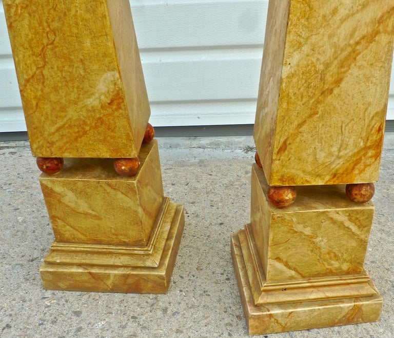 Pair of French 1970s painted wood obelisks.