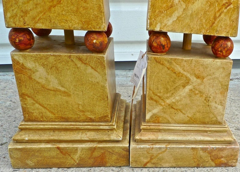 Pair of French 1970s Painted Wood Obelisks For Sale 1