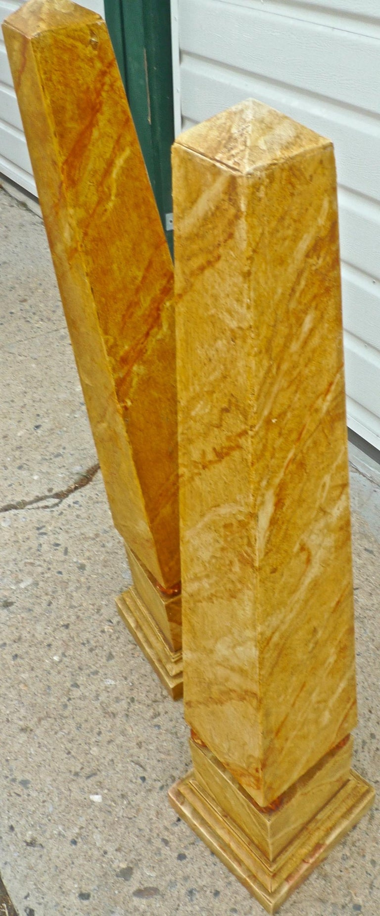 Pair of French 1970s Painted Wood Obelisks For Sale 4