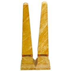 Pair of French 1970s Painted Wood Obelisks