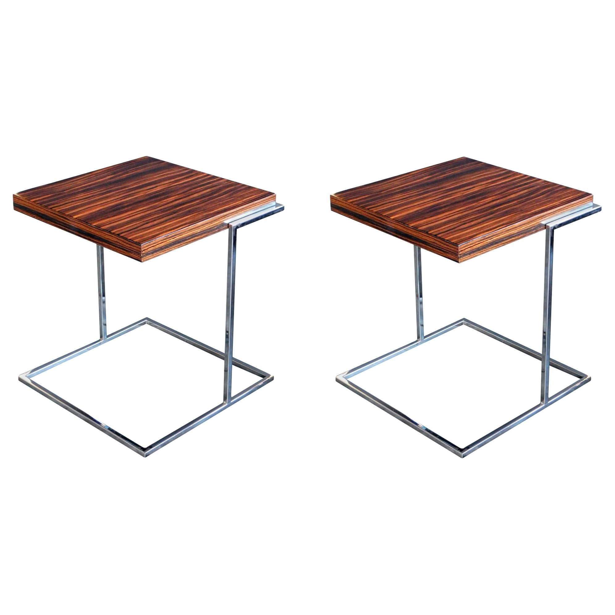 Pair of French 1970s Square Macassar and Chrome Side Tables
