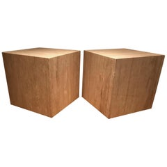 Pair of French 1970s Travertine Tables