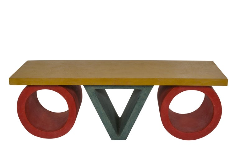 Off the wall pair of coffee tables in the French Postmodern style. Postmodernism originated in the late 1970s as a response to Modernism. It is characterized by the return of ornament and symbol to form. Modernism was 'reductive', Postmodernism is