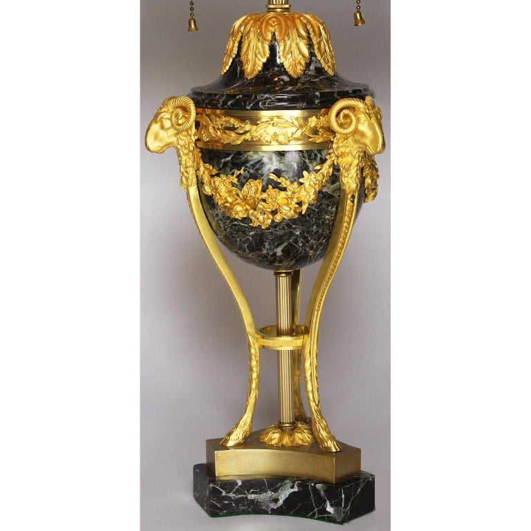 Early 20th Century Pair of French 19th-20th Century Gilt-Bronze 'Ormolu' Mounted Urn Figural Lamps For Sale