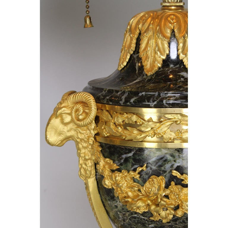 Pair of French 19th-20th Century Gilt-Bronze 'Ormolu' Mounted Urn Figural Lamps For Sale 2