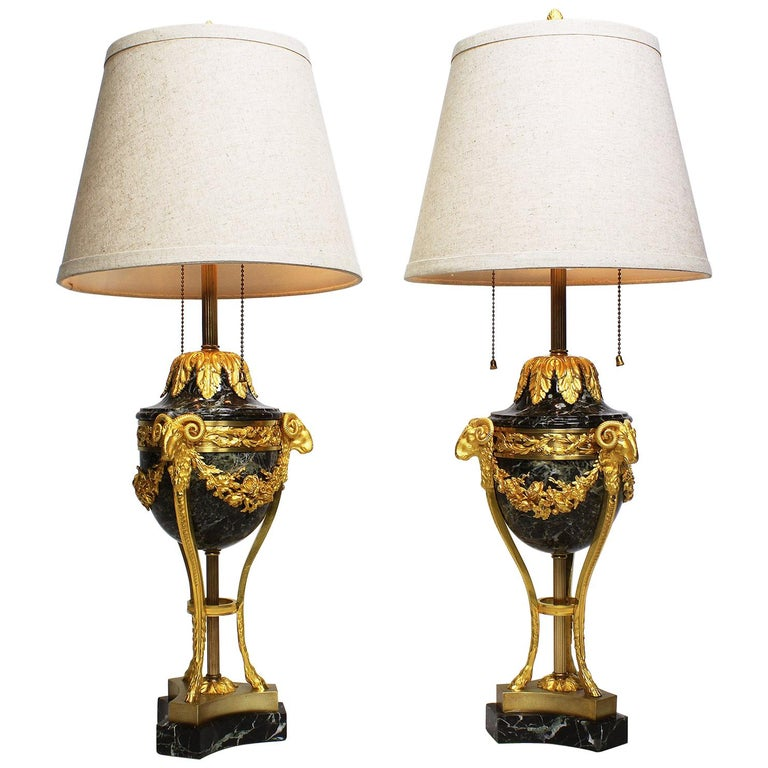 Pair of French 19th-20th Century Gilt-Bronze 'Ormolu' Mounted Urn Figural Lamps For Sale