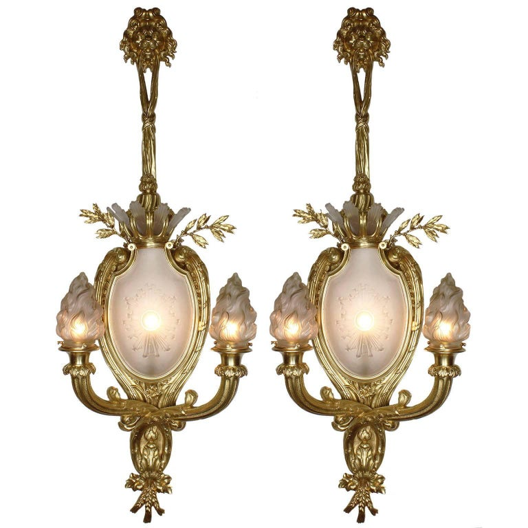 Pair of French 19th-20th Century Louis XV Style Figural Wall Lights with Lions For Sale