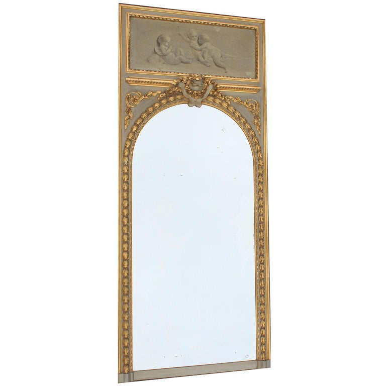 Hand-Carved Pair of French 19th-20th Century Louis XV Style Giltwood Carved Trumeau Mirrors For Sale