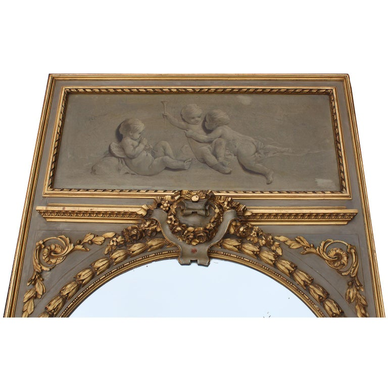 Pair of French 19th-20th Century Louis XV Style Giltwood Carved Trumeau Mirrors In Fair Condition For Sale In Los Angeles, CA