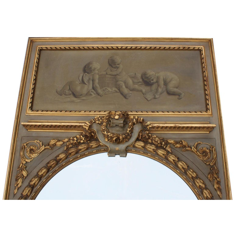 Early 20th Century Pair of French 19th-20th Century Louis XV Style Giltwood Carved Trumeau Mirrors For Sale