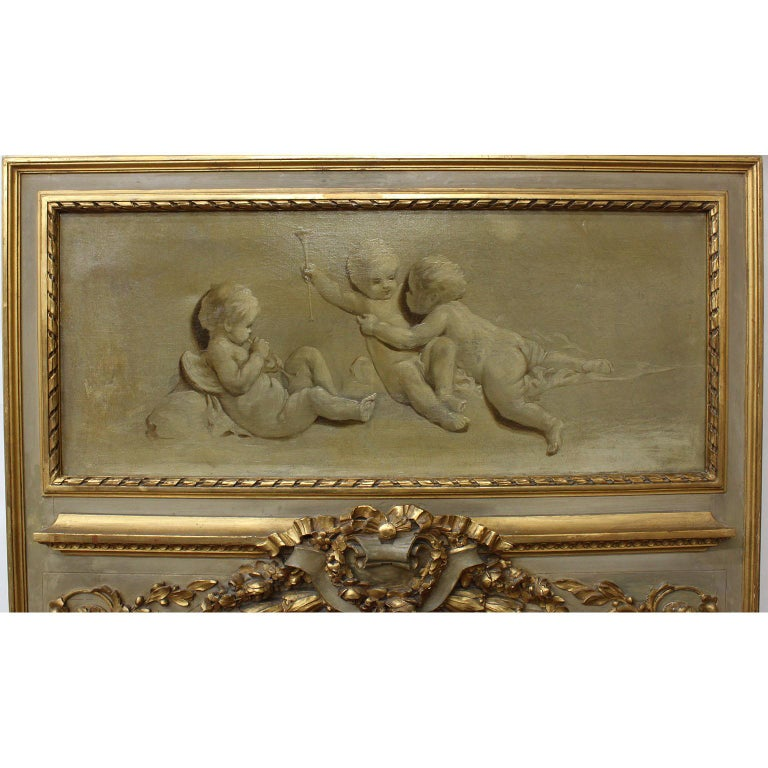 Pair of French 19th-20th Century Louis XV Style Giltwood Carved Trumeau Mirrors For Sale 2