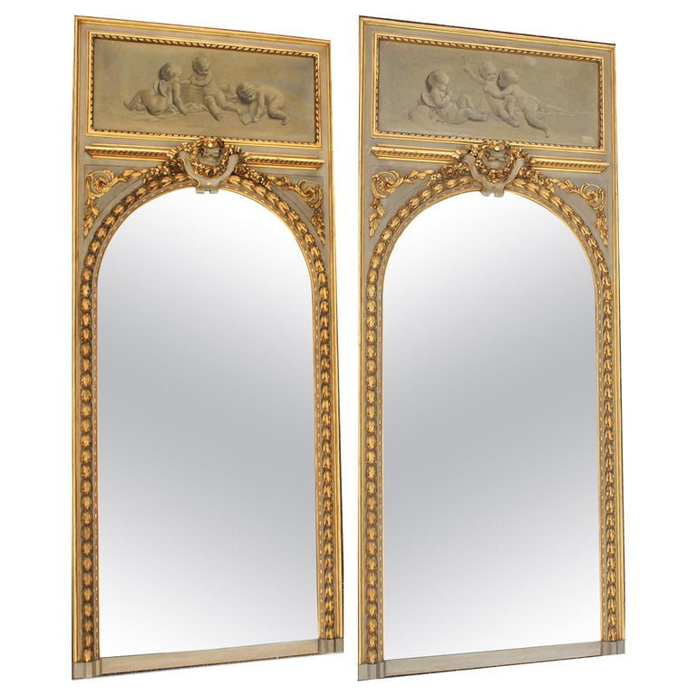 Pair of French 19th-20th Century Louis XV Style Giltwood Carved Trumeau Mirrors For Sale