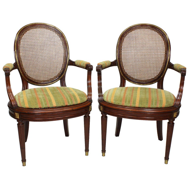 Pair of French 19th-20th Century Louis XVI Style Ormolu Mounted Dining Armchairs For Sale
