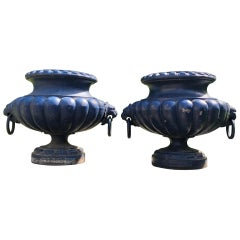 Pair of French 19th C Cast Iron Urns with Lion Handles, Signed Alfred Corneau