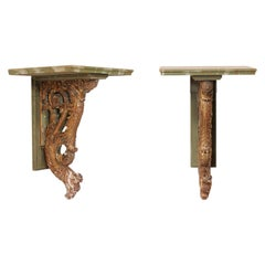 Pair of French Oiseau 'Bird' Carved Wall Shelves with Faux-Marble Tops