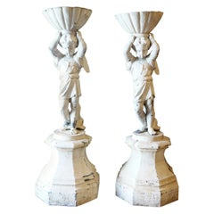 Pair of French Painted Neoclassical Lead Garden Cherub Statues Planters