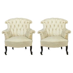Pair of French 19th C Tufted Armchairs in Muslin
