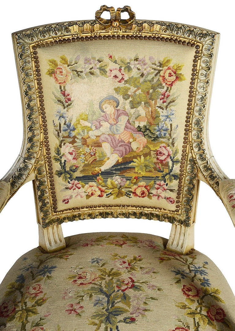 Louis XVI Pair of French 19th Century Armchairs For Sale