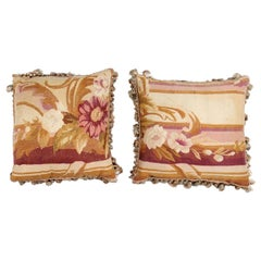 Pair of French 19th Century Aubusson Tapestry Pillows with Floral Decor