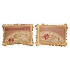 Pair of French 19th Century Aubusson Tapestry Pillows with Flowers and Tassels