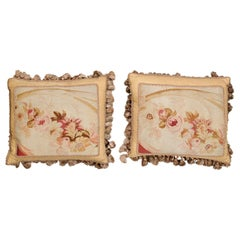 Pair of French 19th Century Aubusson Tapestry Pillows with Roses and Tassels