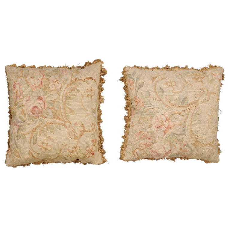 Pair of French 19th Century Aubusson Woven Tapestry Pillow with Floral Décor For Sale