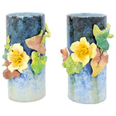 Pair of French 19th Century Barbotine Vases with High-Relief Floral Décor