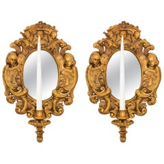 Pair of French 19th Century Baroque Style Ormolu Mirrored Sconces